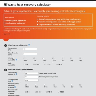 Waste heat recovery calculator