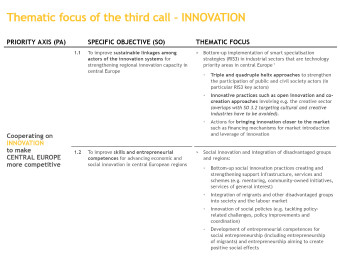 Thematic focus third call